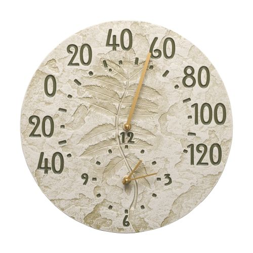 "Sumac 14"" Indoor Outdoor Wall Clock & Thermometer, Moss Green"