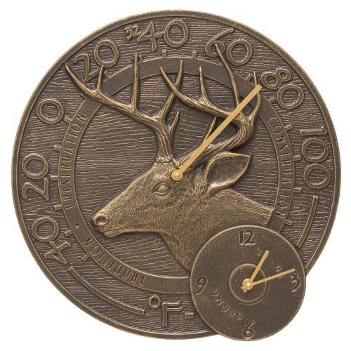 "Whitetail Deer 14"" Indoor Outdoor Wall Clock & Thermometer, French Bronze"