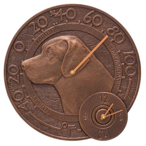 "Labrador 14"" Indoor Outdoor Wall Clock & Thermometer, Antique Copper"