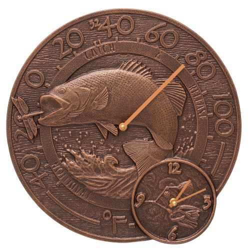 """Bass 14"""" Indoor Outdoor Wall Clock & Thermometer, Antique Copper"""
