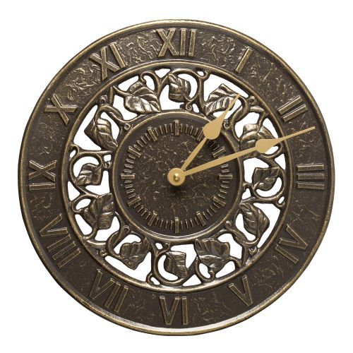 "Ivy 12"" Indoor Outdoor Wall Clock, French Bronze"