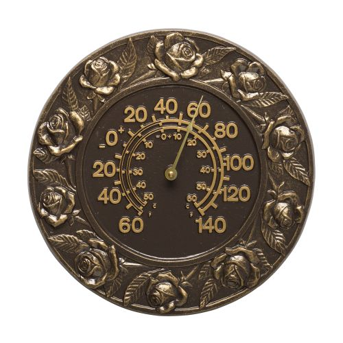 """Rose 12"""" Indoor Outdoor Wall Thermometer, French Bronze"""