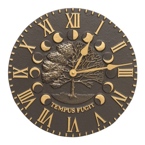 """Times And Seasons 12"""" Indoor Outdoor Wall Clock, French Bronze"""