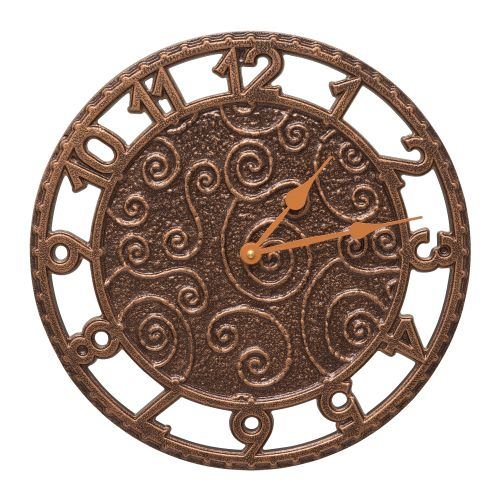 "Flourish 14"" Indoor Outdoor Wall Clock , Antique Copper"