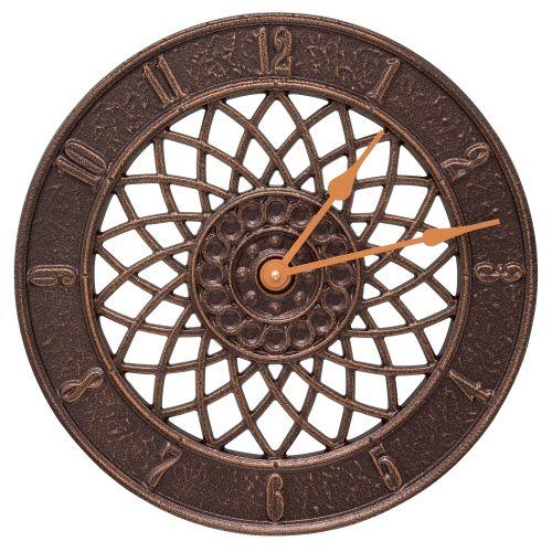 """Spiral 14"""" Indoor Outdoor Wall Clock , Antique Copper"""