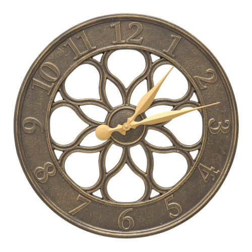 "Medallion 18"" Indoor Outdoor Wall Clock, French Bronze"
