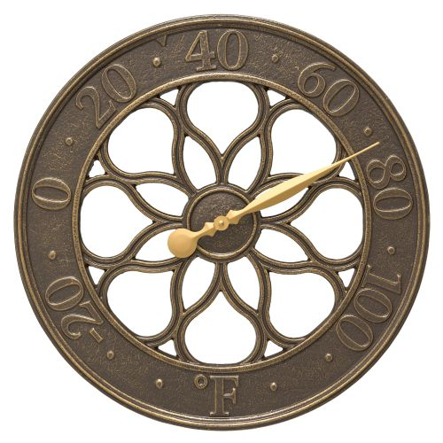 """Medallion 18"""" Indoor Outdoor Wall Thermometer, French Bronze"""