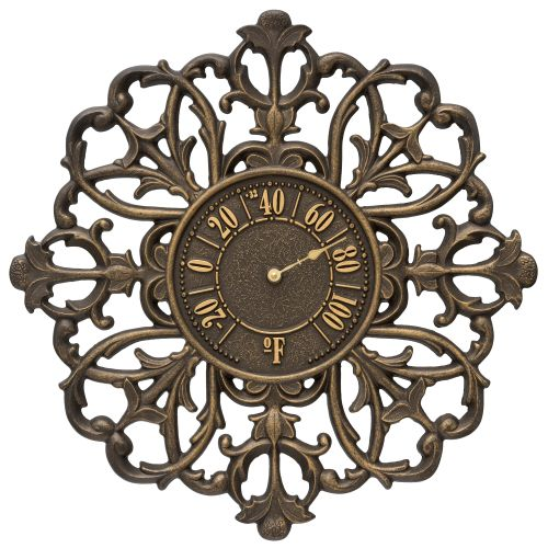 "Filigree Silhouette 21"" Indoor Outdoor Wall Thermometer, Aged Bronze"