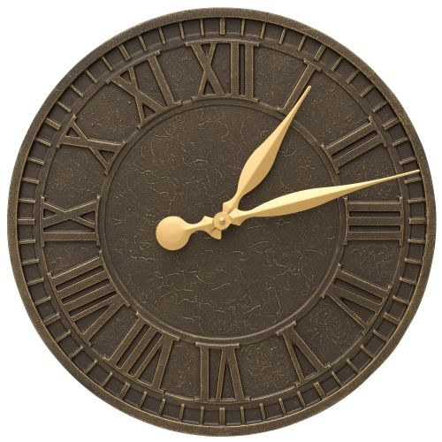 "Geneva 16"" Indoor Outdoor Wall Clock, French Bronze"