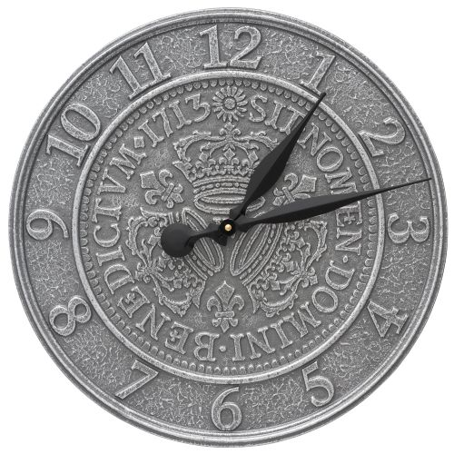"Three Crowns In Coin 16"" Indoor Outdoor Wall Clock, Pewter Silver"