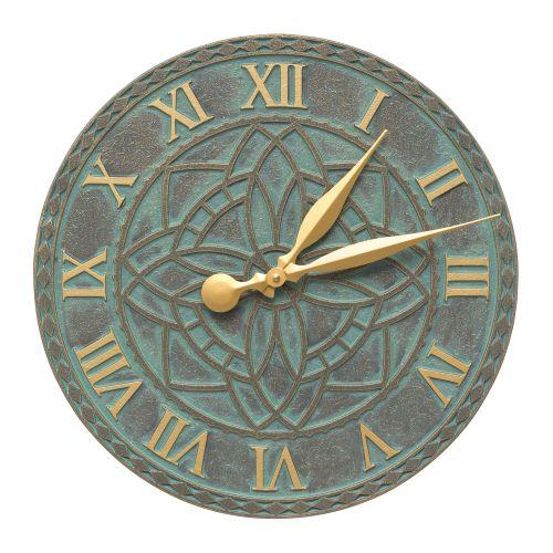 """Artisan 16"""" Indoor Outdoor Wall Clock , Bronze Verdigris"""