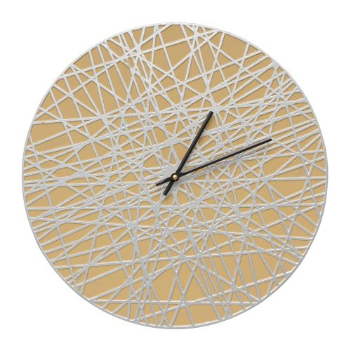 """Banded 16"""" Indoor Outdoor Wall Clock , Curry / Silver"""