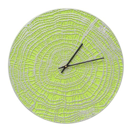"End Grain 16"" Indoor Outdoor Wall Clock , Acid Green / Silver"