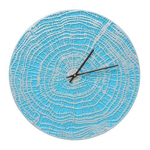 "End Grain 16"" Indoor Outdoor Wall Clock , Scuba Blue / Silver"
