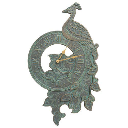 Peacock Indoor Outdoor Wall Clock, Bronze Verdigris