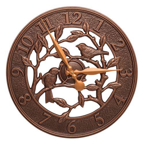 """Woodridge 16"""" Indoor Outdoor Wall Clock, Antique Copper"""