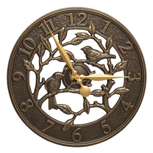 """Woodridge 16"""" Indoor Outdoor Wall Clock, French Bronze"""