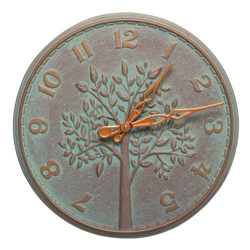 """Tree Of Life 16"""" Indoor Outdoor Wall Clock, Copper Verdigris"""