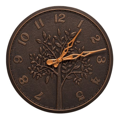 "Tree Of Life 16"" Indoor Outdoor Wall Clock , Oil Rubbed Bronze"