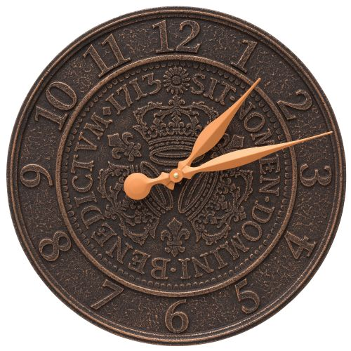 "Three Crowns In Coin 16"" Personalized Indoor Outdoor Wall Clock, Oil Rubbed Bronze"