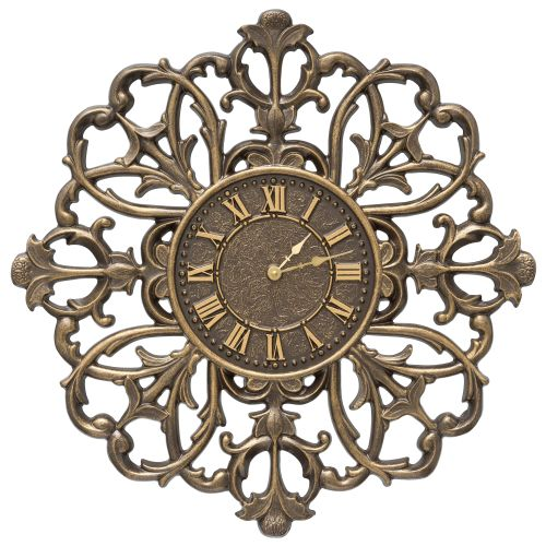 "Filigree Silhouette 21"" Indoor Outdoor Wall Clock , French Bronze"
