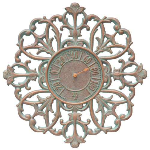"Filigree Silhouette 21"" Indoor Outdoor Wall Thermometer, Copper Verdigris"