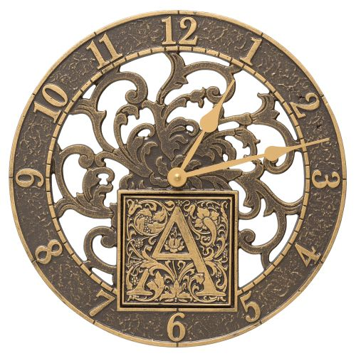 """Silhouette Monogram 12"""" Personalized Indoor Outdoor Wall Clock, French Bronze"""