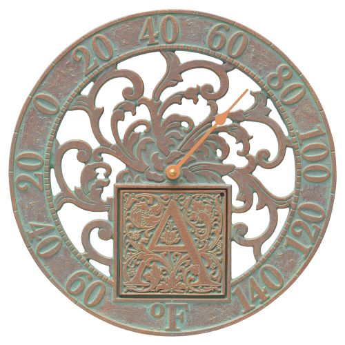 """Silhouette Monogram 12"""" Personalized Indoor Outdoor Wall Thermometer, Copper Verdigris"""
