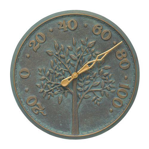 """Tree Of Life 16"""" Indoor Outdoor Wall Thermometer, Bronze Verdigris"""