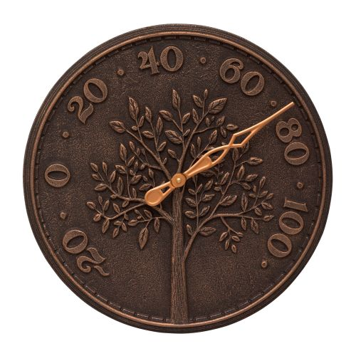 "Tree Of Life 16"" Indoor Outdoor Wall Thermometer, Oil Rubbed Bronze"