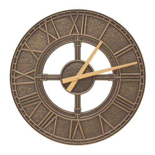 """Hera 16"""" Indoor Outdoor Wall Clock, French Bronze"""