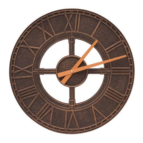 """Hera 16"""" Indoor Outdoor Wall Clock, Oil Rubbed Bronze"""