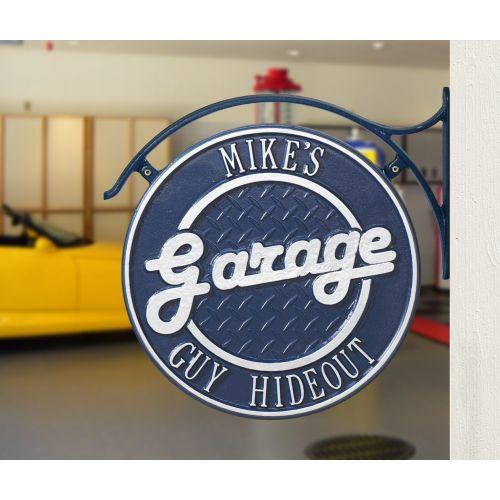 Hanging Garage Plaque With Bracket, Dark Blue/Silver, Dark Blue/Silver