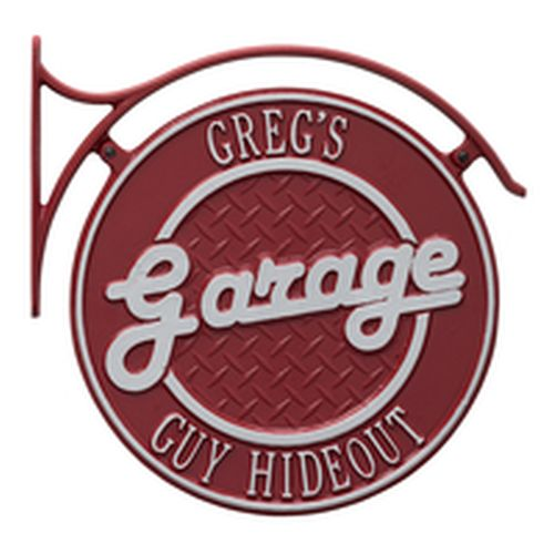 Hanging Garage Plaque With Bracket, Red/Silver, Red/Silver