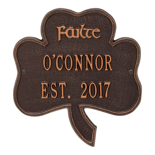 Shamrock Address Plaque, Antique Copper