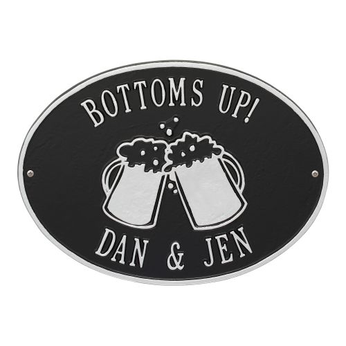 Personalized Beer Mugs Plaque, Black / Silver