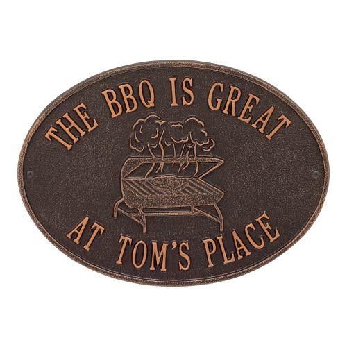 Personalized Grill Plaque, Antique Copper