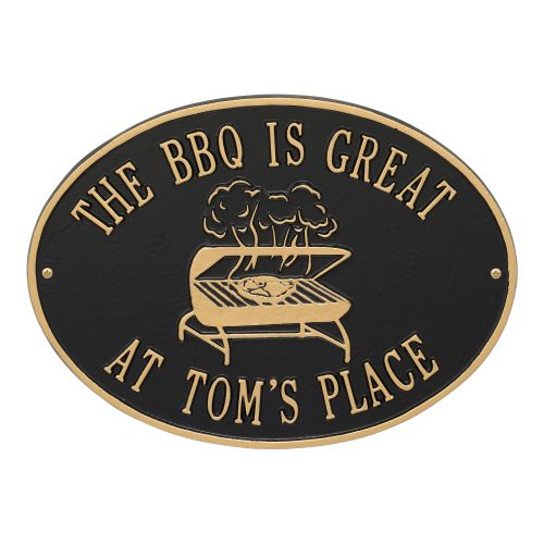 Personalized Grill Plaque, Black / Gold