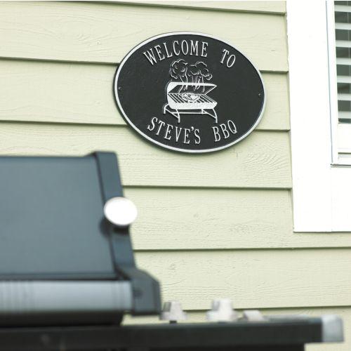 Personalized Grill Plaque, Black / Silver
