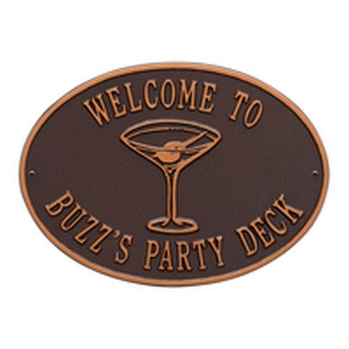 Personalized Martini Plaque, Antique Copper
