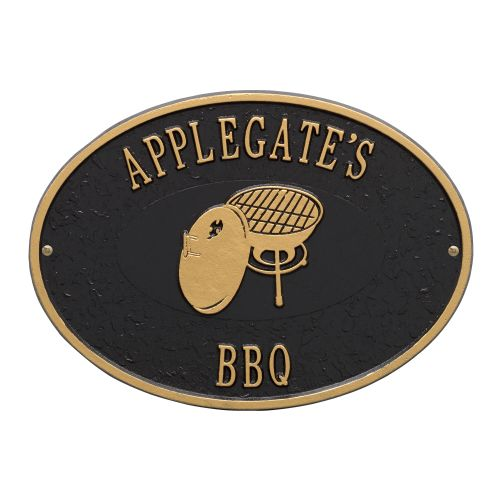 Personalized Charcoal Grill Plaque, Black / Gold