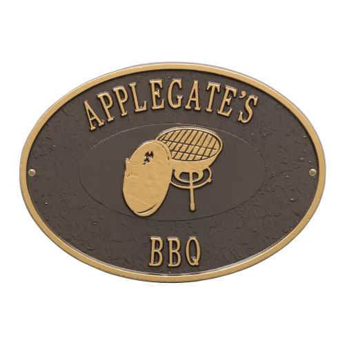 Personalized Charcoal Grill Plaque, Bronze / Gold