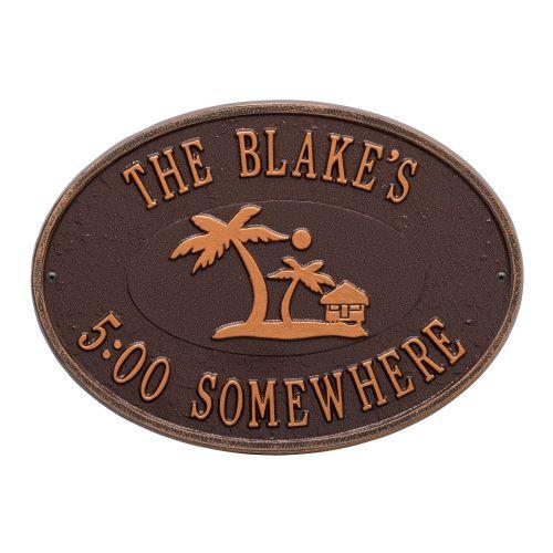 Personalized Island Time Palm Plaque, Antique Copper