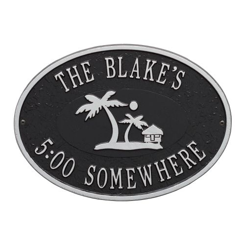 Personalized Island Time Palm Plaque, Black / Silver
