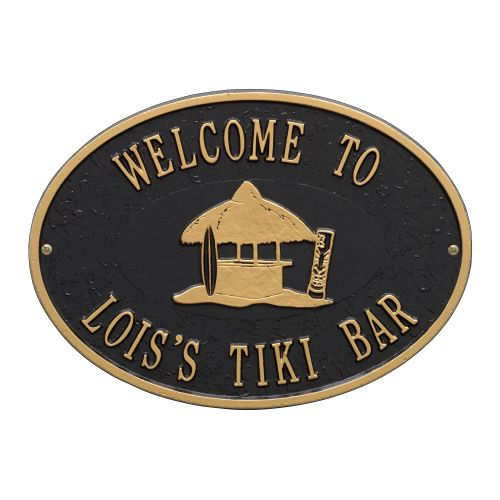 Personalized Tiki Hut Plaque, Black / Gold