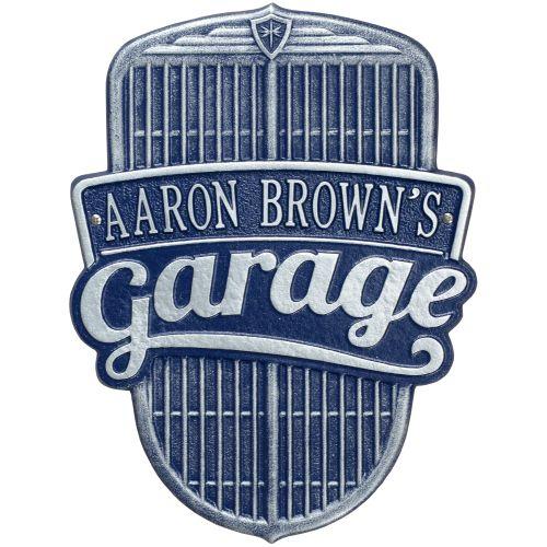 Car Grille Garage Plaque, Dark Blue/Silver, Dark Blue/Silver