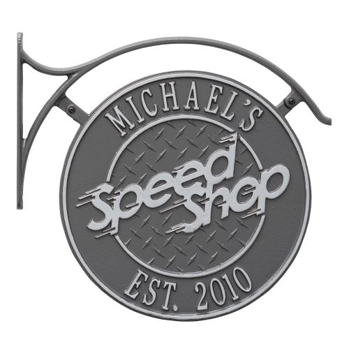Hanging Speed Shop Plaque With Bracket, Pewter Silver, Pewter/Silver