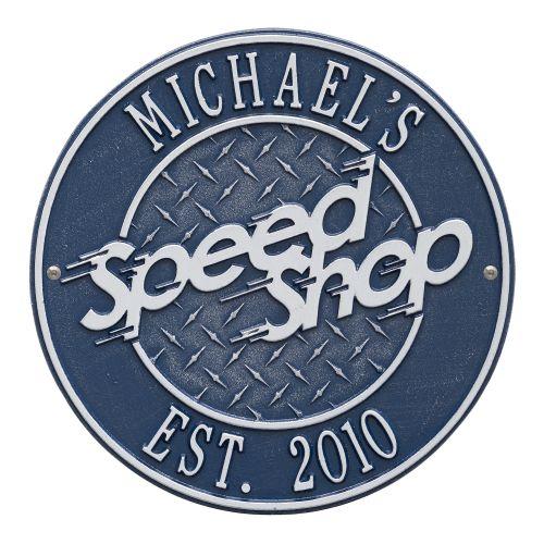 Speed Shop Plaque, Dark Blue/Silver, Dark Blue/Silver