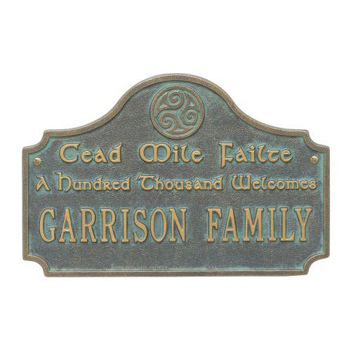 Cead Mile Failte Plaque, Bronze Verdigris