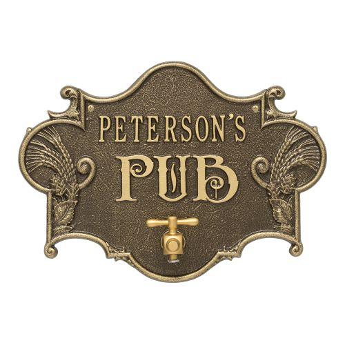 Custom Hops & Barley Beer Pub Plaque , Weathered Antique / Brass